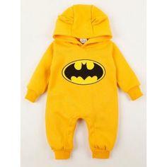 BabyOBaby Batman Romper With Hoodie - Yellow #winterbabyclothes #babyboutique #trendybabyclothes