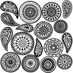 Boho Zentangle Mandala and Paisley Doodle Wall Decals - Wall Dressed Up - 1 Paisley Doodle, Mandala Doodle, Tangle Doodle, Mandala Dots, Doodles Zentangles, Mandala Design, Paisley Drawing, Mandalas Painting, Mandalas Drawing