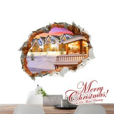 3D Christmas Town PAG STICKER Wall Decals Sticker Home Wall Hole Christmas Decor Gift