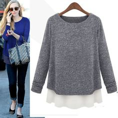 Lady Solid Dropshipping Chiffon Splicing Knit Sweater Women Long Sleeves Blouse Pullover Tops Freeshipping-in Pullovers from Apparel & Acces...