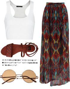 Look casual com #saia longa, rasteirinhas e óculos redondo, quase como uma…