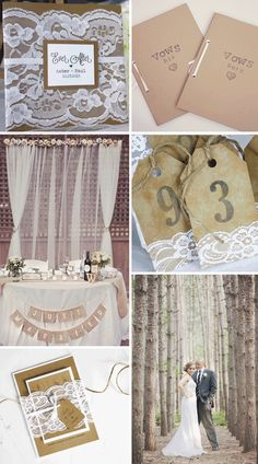 Rustic and lace wedd