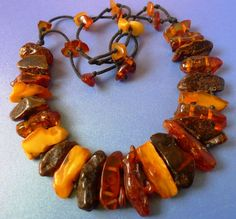 Antique Egg Yolk honey Yellow Natural Baltic Amber Stone 40 Gr.necklace beads #2