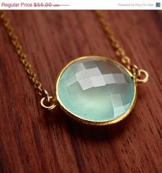 WINTER SALE Aqua Chalcedony Necklace  Gold Filled  Bezel by OhKuol, $46.75