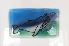 Fused glass - panel with humpback whale
