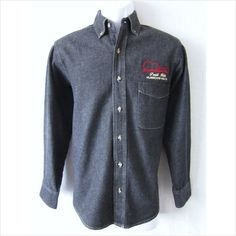 LORETTA LYNN MENS SMALL 100% COTTON/CHAMBRAY SOLID BLACK BUTTON FRONT L/S SHIRT on eBid United States