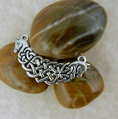 Antiqued Silver Celtic Knot pendant link with horses, Irish Connemara Ponies for…