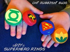 Super Power Super Hero Rings :: Upcycled Plastics :: Milk Caps & Ring Pop Candy :: DC Super Friends Birthday Party Favors