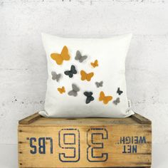 This is an adorable pillow cover with growing butterfly appliqués; An original and romantic accent for any kind of decor. Personalize it with your favorite felt color(s), fabric and size. Have fun! | Personalized Butterfly Pillow Cover in 12x18, 16x16, 18x18 or 20x20 | Growing Butterflies Accent Pillow Case | Custom Felt Color & Fabric | #affiliate