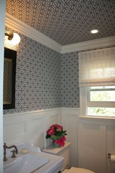 powder room | wallpaper ceiling