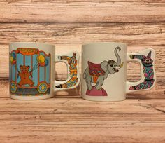 Vintage Children's Mugs Set of 2 Circus by ColsonsCollectibles