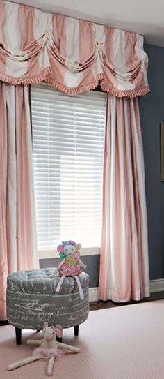 Custom made pink and white stripes curtain panels with draped window valance edged with a pleated edging. Lovely pink and white striped window treatments! Bedroom Curtains With Blinds, Valences For Windows, Nursery Curtains, Window Drapes, Panel Curtains, Curtain Panels, Valance, White Bedroom, Bedroom Wall