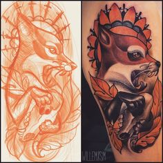I love seeing the initial sketches alongside finished tattoos..and lovin' fox tattoos right now. and Willem Janssen is my current fave. Love the shapes and flow of this <3