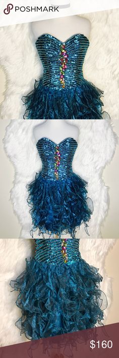 Milano Teal Sparkle Ruffle Dress Short teal blue baby boll dress full of sparkle and frills. Stand out at Prom, pageants, and Quinceanera parties. milano Dresses Prom