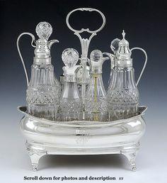 1810 Georgian English Sterling Silver Cruet Set Original Cut Glass Bottles | eBay