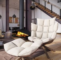 RIP3D Industrial Loft- deconstructed quilted eames style chair in open plan fireplace living