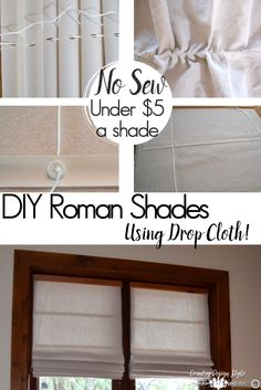 Roman Shade Tutorial - Country Design Style Roman Shade Tutorial using a drop cloth and no sew steps. How to cut a perfect square out of a drop cloth. Roman shade tutorial on the cording too. Drop Cloth Curtains, Diy Curtains, Kitchen Curtains, Bedroom Curtains, Diy Bedroom, Sewing Curtains, Farmhouse Curtains, Country Curtains, Farmhouse Windows