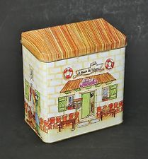 "HOUSE SHAPED NOVELTY TIN ""FISHERMAN'S HOUSE"" FRENCH CONTAINER"