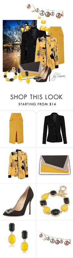 """Beautiful yellow"" by samra-dzabija ❤ liked on Polyvore featuring Topshop, WithChic, Victoria, Victoria Beckham, âme moi, Manolo Blahnik and 1st & Gorgeous by Carolee"