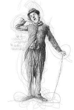 Vince Low Crée de Magnifiques Portraits de Célébrités à partir de Gribouillages au Crayon - Charlie Chaplin