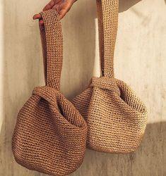 Crochet Tote, Crochet Handbags, Crochet Purses, Crochet Crafts, Crochet Projects, Knit Crochet, Japanese Knot Bag, Japanese Crochet Bag, Sewing Patterns