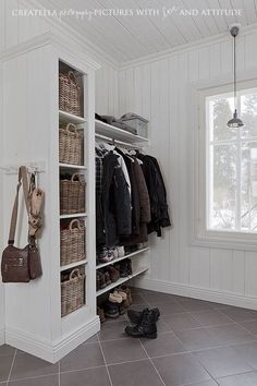 Replace shoe cubby and add Billy bookcase, narrower shelf/cabinet for shoes and… .Replace shoe cubby and add Billy bookcase, narrower shelf/cabinet for shoes and coats/bags above – Heimkino Systemdienste Narrow Shelves, Open Shelving, Wardrobe Design, Entry Hall, Entrance, Florida Home, My New Room, Mudroom, Sweet Home