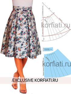 Выкройка юбки с асимметричным подолом от А. Корфиати