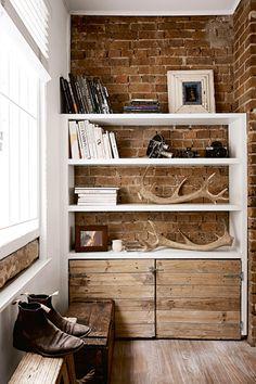 Storage Shelves - Vintage Antler - Modern Home - Masculine Decor - Interior Design