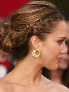 Take a cue from Jessica Alba, and add a French braid to make a standard bun more memorable.