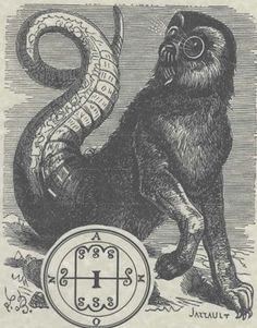 A high quality print of the Goetic Demon (Spirit) AMON in his medieval grimoire manifestation of a serpent-lion-owl 'Theriomorphic' (Beast attributes or form) composite from the abyss. 8x11 with Sleev