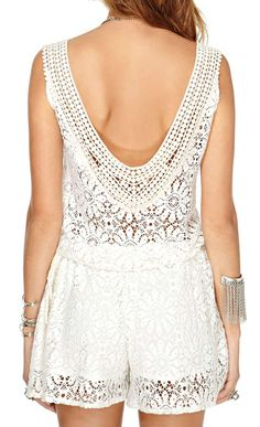 Beautiful lace detail on the back of this romper