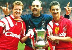 Grobbelaar celebrates Liverpool's FA Cup win in 1992