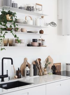 my scandinavian home: white kitchen with black sink and faucet (love the open shelves too)