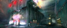Cyberpunk environment by skeletoninspace