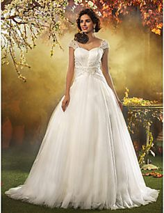 Lanting Bride A-line / Princess Petite / Plus Sizes Wedding Dress-Sweep/Brush Train Queen Anne Tulle – USD $ 179.99