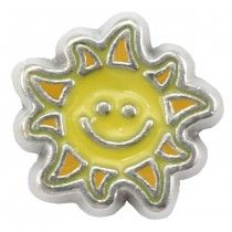 SMILING SUN Floating Heart Locket Charm