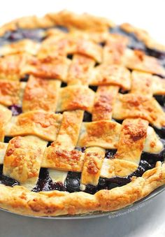 Homemade Lattice Top Blueberry Pie