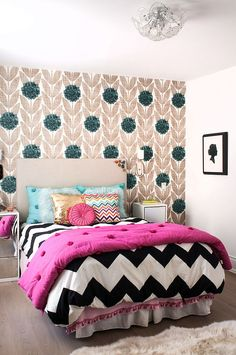 Chevron Bedroom Design Ideas, Pictures, Remodel and Decor Teenage Girl Bedroom Designs, Teen Girl Bedrooms, Accent Wall Bedroom, Bedroom Decor, Bedroom Ideas, Bedroom Interiors, Bedroom Furniture, Furniture Sets, Bedroom Lamps