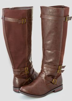 Slim Buckle Stretch Back Flat Tall Boot – Extra Wide Width Wide Calf From the Plus Size Fashion Community at www.VintageandCurvy.com