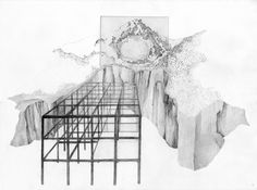 View, etching and pencil drawing on paper. 56.5 x 76.5 cm, 2014