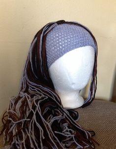 Crochet yarn Hat Hair wigwomen baby kids Gray black by SueStitch