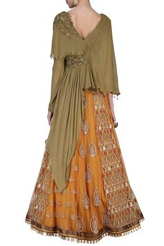 SHASHANK ARYA presents Mustard embroidered lehenga skirt with top available only at Pernia's Pop Up Shop. Lehenga Skirt, Lehnga Dress, Anarkali, Saree Gown, Pakistani Dresses Casual, Indian Gowns Dresses, Pakistani Suits, Indian Designer Outfits, Designer Dresses
