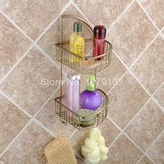 Vintage Retro Antique Brass Wall Mounted Bathroom Accessory Bath Dual Tier Large Corner Shower Storage Basket aba055 #Affiliate