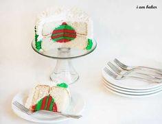 Christmas Tree Cake With A Christmas Ornament Inside