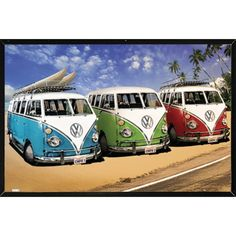 VW Campers Poster With Choice of Frame
