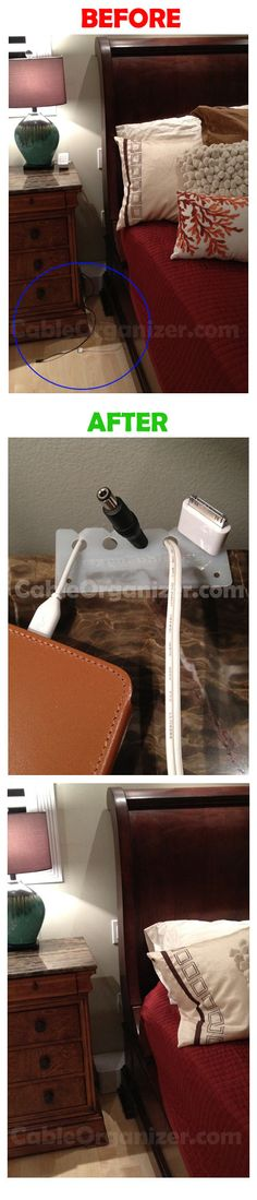 Cable Management: Control the cable clutter with Keep-a-cable. They are cheap and prevent cords from falling behind furniture anywhere in the house http://www.cableorganizer.com/keep-a-cable/