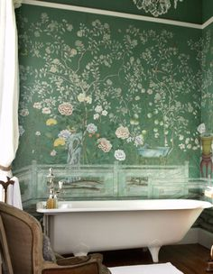 Home: Eleven Inspiring Bohemian Rooms (Chalkboard bathroom wall: Chinoiserie, via House of Bliss) Fancy bathrooms - yes! x
