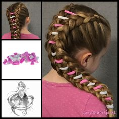 Two dutch braids with hair elastics between them from the webshop www.goudhaartje.nl (worldwide shipping).   Hairstyle inspired by: @kaisanera (instagram)   #hairinspo #braidideas #vlecht #plait #trenza #peinando #braid #braids #longhair #beautifulhair #cute #sweet #lovely #littlegirl #hairaccessories #goudhaartje
