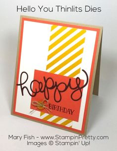 Create a simple handcrafted birthday card using Stampin' Up! Hello You Thinlits Dies. Subscribe to paper crafting tips and stamping ideas.
