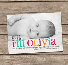 Pin for Later: 35 Beautiful Birth Announcement Cards That Are Going to Make You Want Another Baby Rainbow Introduction Card ($15)
